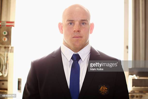 Stephen Moore poses during the Australian Wallabies Rugby World Cup squad announcement at Hangar 96 Qantas Sydney Jet Base on August 21 2015 in...