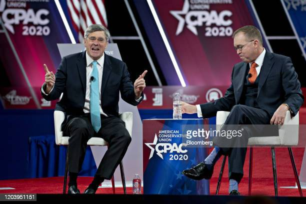 Stephen Moore visiting fellow at the Heritage Foundation speaks as Mick Mulvaney acting White House chief of staff right listens during a discussion...