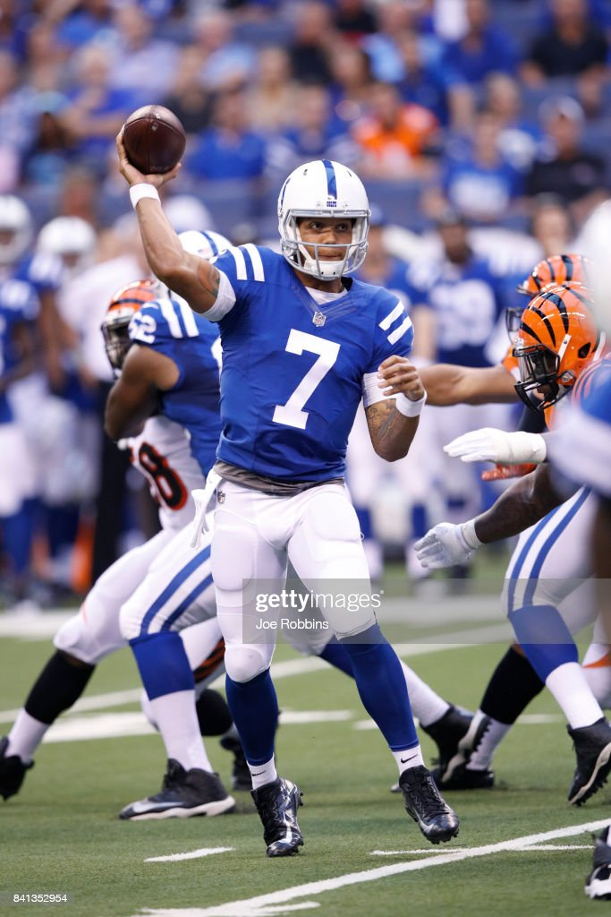 Stephen Morris #7 of the Indianapolis Colts throws a pass in the first half of a preseason game against the Cincinnati Bengals at Lucas Oil Stadium on August 31, 2017 in Indianapolis, Indiana.