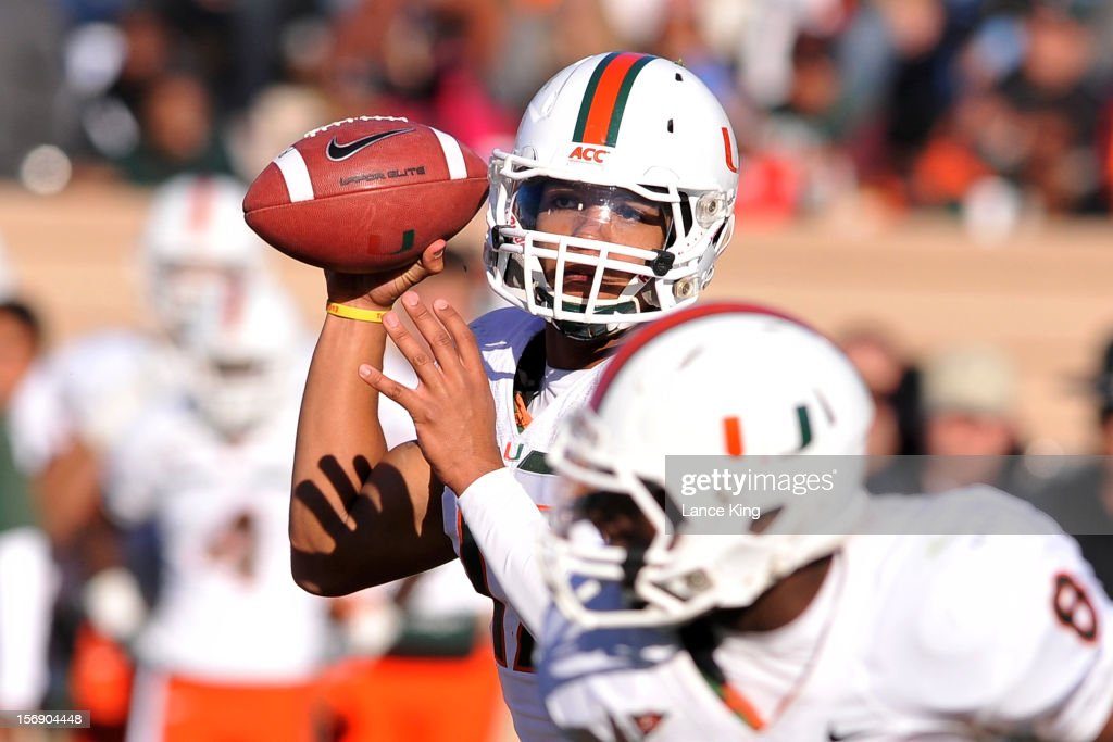 Stephen Morris #17 of the Miami Hurricanes drops back to pass against the Duke Blue Devils at Wallace Wade Stadium on November 24, 2012 in Durham, North Carolina.
