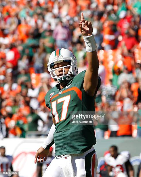 Stephen Morris of the Miami Hurricanes holds a finger skyward after the team scored the winning touchdown against the Maryland Terrapins on November...