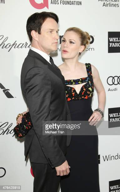 Stephen Moyer and Anna Paquin arrive at the 22nd Annual Elton John AIDS Foundation's Oscar viewing party held on March 2 2014 in West Hollywood...