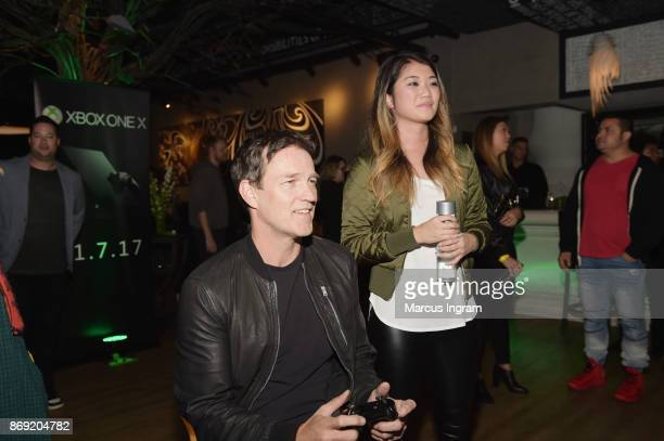 Stephen Moyer and guest attend the Xbox One X Launch Event at 5Church on November 1 2017 in Atlanta Georgia