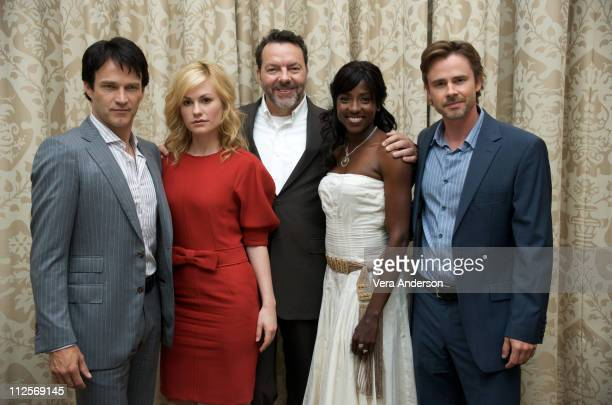 """Stephen Moyer, Anna Paquin, Alan Ball, Rutina Wesley and Sam Trammell at the """"True Blood"""" press conference at the Four Seasons Hotel on July 22, 2009..."""