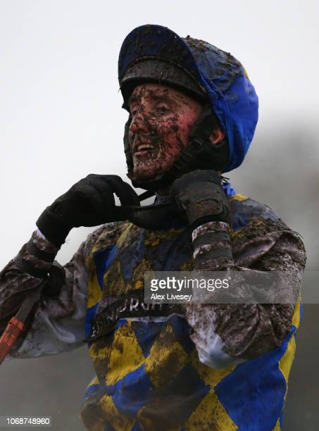 Stephen Mulqueen looks on after riding Buddha Scheme in The Watch Racing Uk Anywhere Maiden Hurdle Race at Haydock Racecourse on December 5 2018 in...