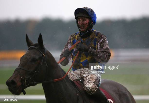 Stephen Mulqueen on board Buddha Scheme looks on after The Watch Racing Uk Anywhere Maiden Hurdle Race at Haydock Racecourse on December 5 2018 in...