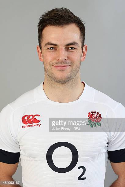 Stephen Myler of England poses for a portrait during the England Six Nations Squad Photo Call at the Penny Hill Hotel on January 20 2014 in Bagshot...