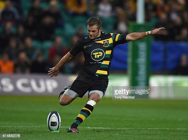 Stephen Myler of Northampton Saints takes a penalty kick during the European Rugby Champions Cup match between Northampton Saints and Montpellier at...