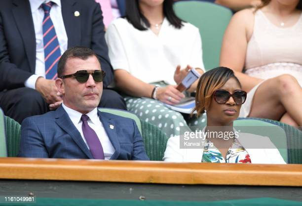 Stephen O'Connor and Denise Lewis attend day eight of the Wimbledon Tennis Championships at All England Lawn Tennis and Croquet Club on July 09 2019...