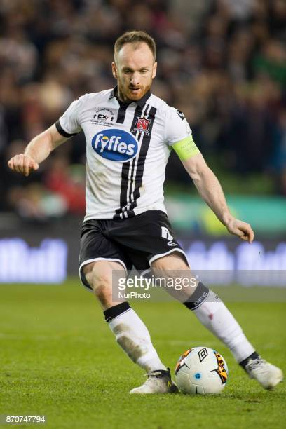 Stephen O'Donnell of Dundalk takes a penalty during the Irish Daily Mail FAI Senior Cup Final between Dundalk FC and Cork City at Aviva Stadium in...