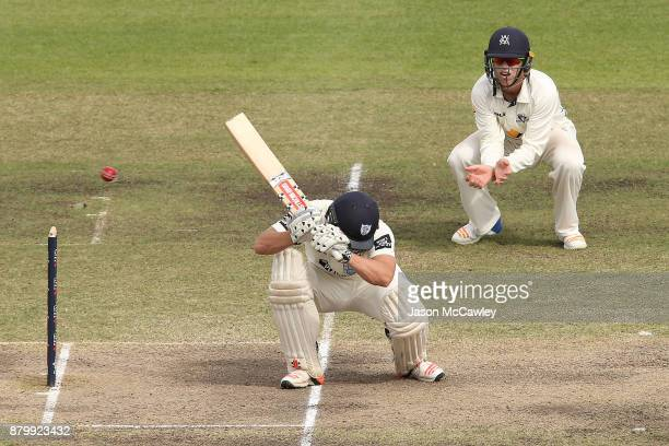 Stephen O'Keefe of NSW bats during day four of the Sheffield Shield match between New South Wales and Victoria at North Sydney Oval on November 27...