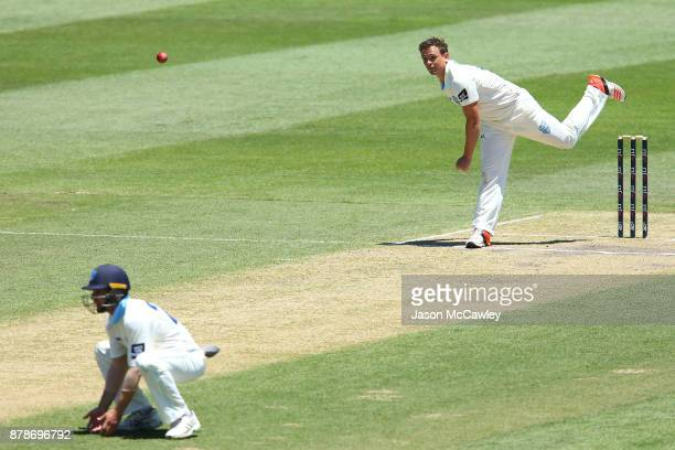 Stephen O'Keefe of NSW bowls during day two of the Sheffield Shield match between New South Wales and Victoria at North Sydney Oval on November 25...