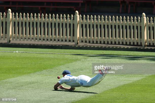 Stephen O'Keefe of NSW drops a catch during day two of the Sheffield Shield match between New South Wales and Victoria at North Sydney Oval on...