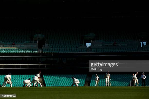 Stephen O'Keefe of the Blues bowls during day one of the Sheffield Shield match between New South Wales and Queensland at Sydney Cricket Ground on...