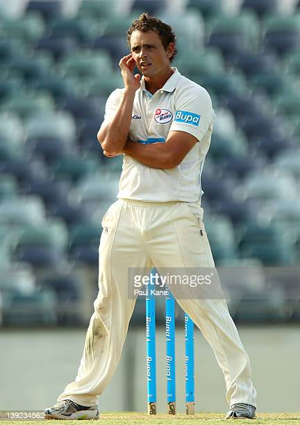 Stephen O'Keefe of the Blues looks on during day two of the Sheffield Shield match between the Western Australia Warriors and the New South Wales...