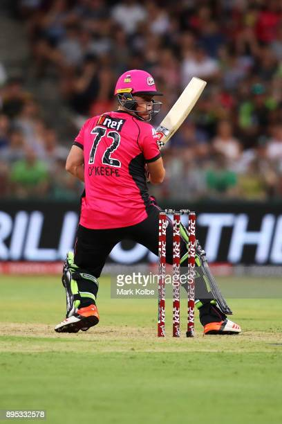 Stephen O'Keefe of the Sixers bats during the Big Bash League match between the Sydney Thunder and the Sydney Sixers at Spotless Stadium on December...