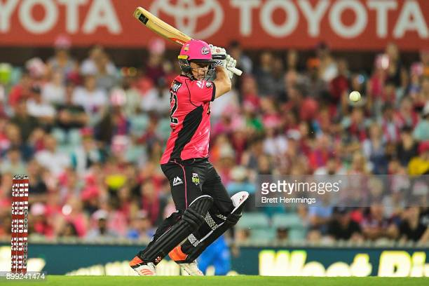 Stephen O'Keefe of the Sixers bats during the Big Bash League match between the Sydney Sixers and the Adelaide Strikers at Sydney Cricket Ground on...