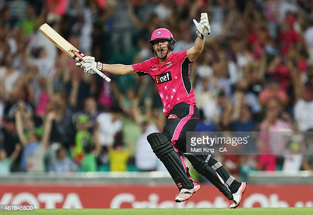 Stephen O'Keefe of the Sixers celebrates hitting the winning runs during the Big Bash League match between the Sydney Sixers and the Sydney Thunder...