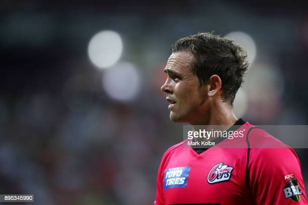 Stephen O'Keefe of the Sixers shows his frustration during the Big Bash League match between the Sydney Thunder and the Sydney Sixers at Spotless...
