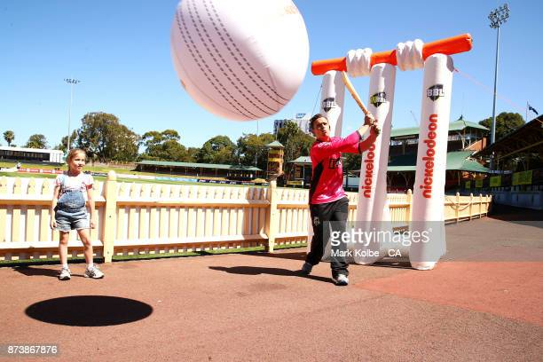 Stephen O'Keefe plays a game of Nick Cricket with young children and Nickelodeon characters during the KFC BBL Renewal Partnership with Nickelodeon...