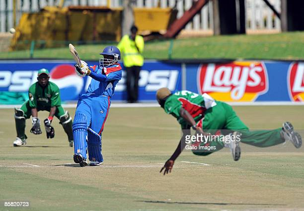 Stephen Outerbridge of Bermuda about to be caught off Elijah Otieno for 31 runs during the ICC Mens Cricket World Cup qualifier match between Kenya...