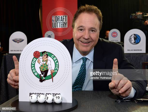 Stephen Pagliuca of the Boston Celtics poses for a photo after drawing the pick during the 2017 NBA Draft Lottery at the New York Hilton in New York...