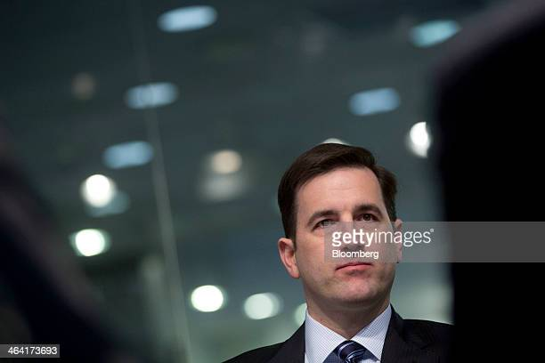 Stephen Pair cofounder and chief technology officer of BitPay Inc listens to a question during an interview in Washington DC US on Tuesday Jan 21...