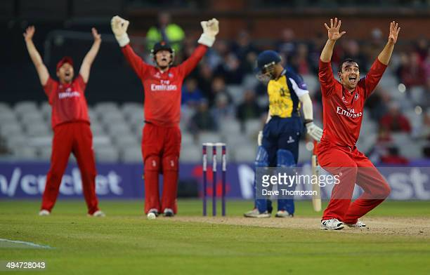 Stephen Parry of Lancashire Lightning appeals unsuccessfully for the wicket of Ateeq Javid of Birmingham Bears during The Natwest T20 Blast match...