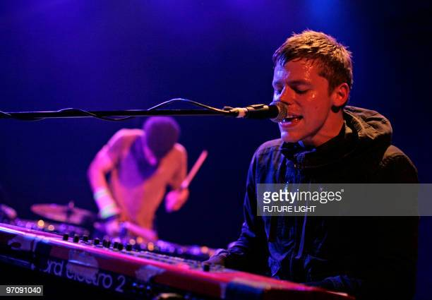 Stephen Patterson of White Rabbits performs on stage at ICA on February 25 2010 in London England