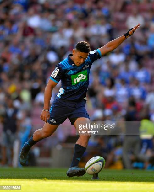 Stephen Perofeta of the Blues during the Super Rugby match between DHL Stormers and Blues at DHL Newlands on March 17 2018 in Cape Town South Africa