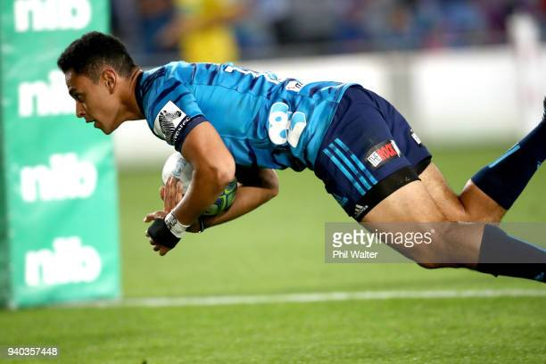 Stephen Perofeta of the Blues scores a try during the round sevens Super Rugby match between the Blues and the Sharks at Eden park on March 31 2018...