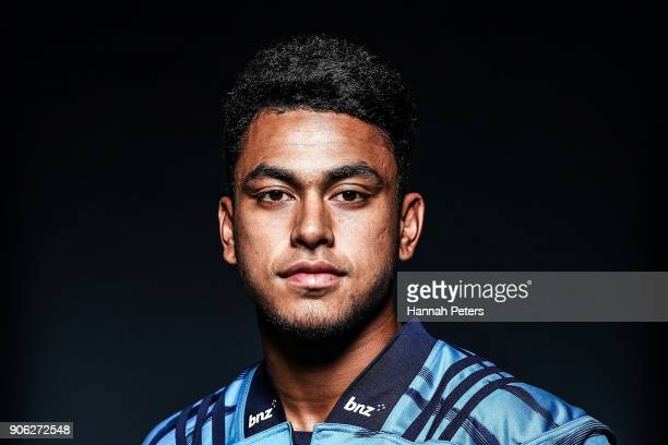 Stephen Perofeta poses during the Blues Super Rugby headshots session at Blues HQ on January 17 2018 in Auckland New Zealand