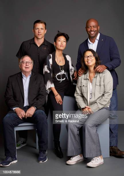 Stephen Petranek Jeff Hephner Jihae Dee Johnson and Leland D Melvin from National Geographic's 'When Earthlings Become Martians Mars Season 2' pose...