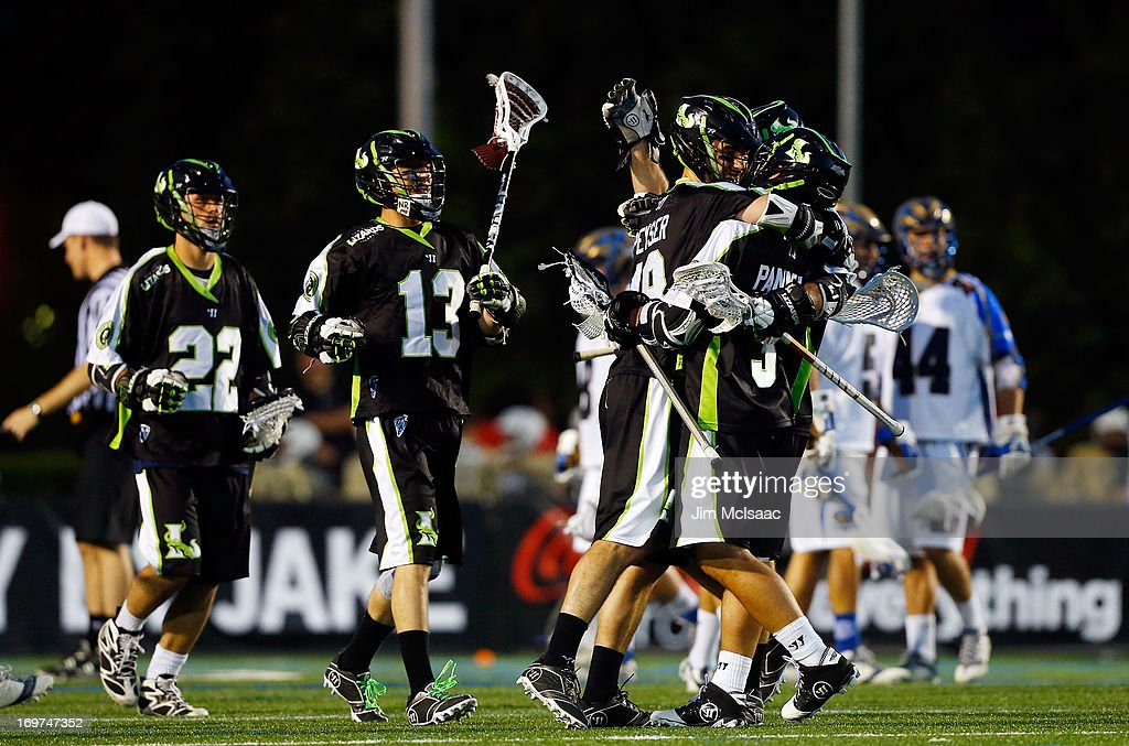 Stephen Peyser #18 of the New York Lizards celebrates his two point goal against the Charlotte Hounds with his teammates during their Major League Lacrosse game at Shuart Stadium on May 31, 2013 in Uniondale, New York. The Hounds defeated the Lizards 14-12.