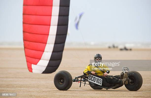 Stephen Pirie of Scotland taking part in one of the races at the European Kite Buggy Championships at Hoylake Wirral north west England Around 75...