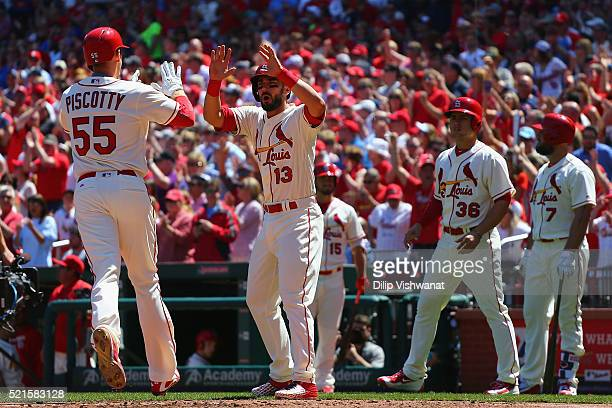Stephen Piscotty and Matt Carpenter of the St Louis Cardinals celebrate after Piscotty hit a threerun home run in the second inning against the...