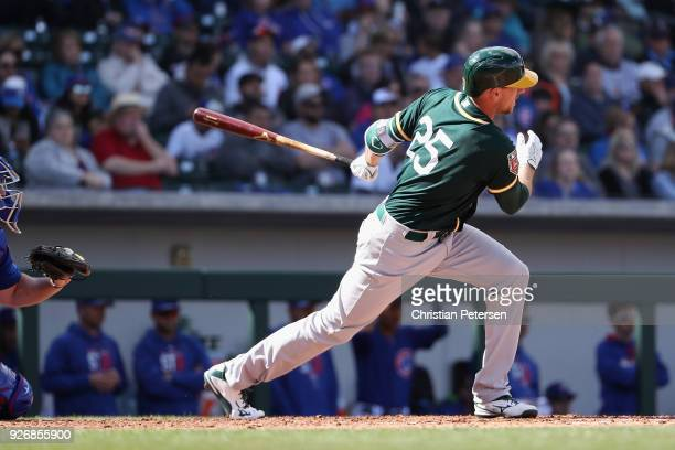 Stephen Piscotty of the Oakland Athletics bats against the Chicago Cubs during the spring training game at Sloan Park on February 28 2018 in Mesa...