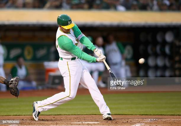 Stephen Piscotty of the Oakland Athletics hits a tworun double in the first inning against the Chicago White Sox at Oakland Alameda Coliseum on April...