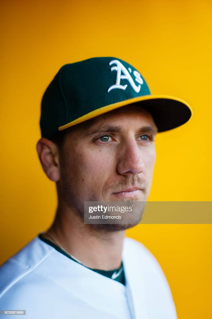 Stephen Piscotty #25 of the Oakland Athletics poses for a portrait during photo day at HoHoKam Stadium on February 22, 2018 in Mesa, Arizona.