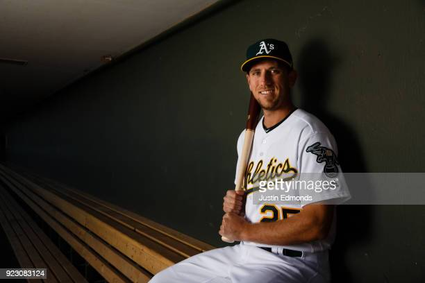 Stephen Piscotty of the Oakland Athletics poses for a portrait during photo day at HoHoKam Stadium on February 22 2018 in Mesa Arizona