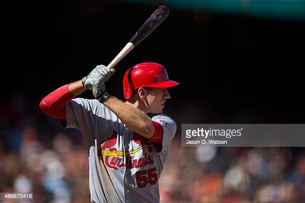 Stephen Piscotty of the St Louis Cardinals at bat against the San Francisco Giants during the ninth inning at ATT Park on August 29 2015 in San...
