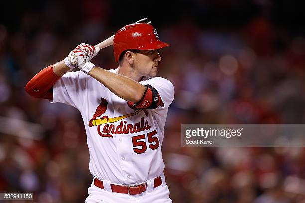 Stephen Piscotty of the St Louis Cardinals at bat during the eighth inning against the Colorado Rockies at Busch Stadium on May 19 2016 in St Louis...