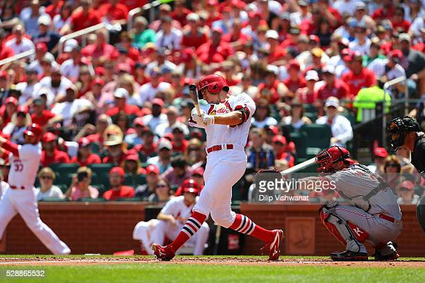Stephen Piscotty of the St Louis Cardinals bats against the Cincinnati Reds at Busch Stadium on April 17 2016 in St Louis Missouri