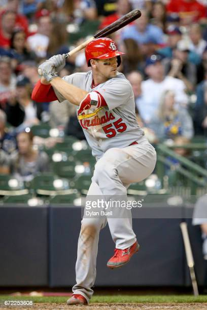 Stephen Piscotty of the St Louis Cardinals bats in the eighth inning against the Milwaukee Brewers at Miller Park on April 23 2017 in Milwaukee...