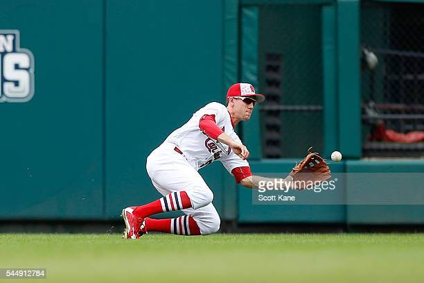 Stephen Piscotty of the St Louis Cardinals catches for an out against the Pittsburgh Pirates during the second inning of a baseball game at Busch...