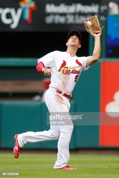 Stephen Piscotty of the St Louis Cardinals catches for an out during the sixth inning against the Cincinnati Reds at Busch Stadium on June 26 2017 in...