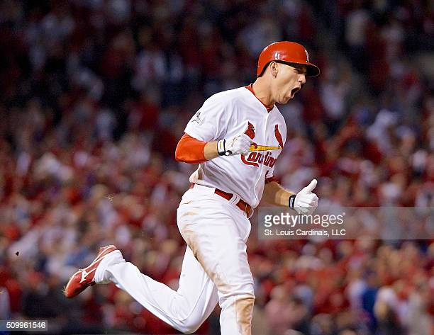 Stephen Piscotty of the St Louis Cardinals celebrates after hitting a two run home run in the eight inning during Game 1 of the National League...