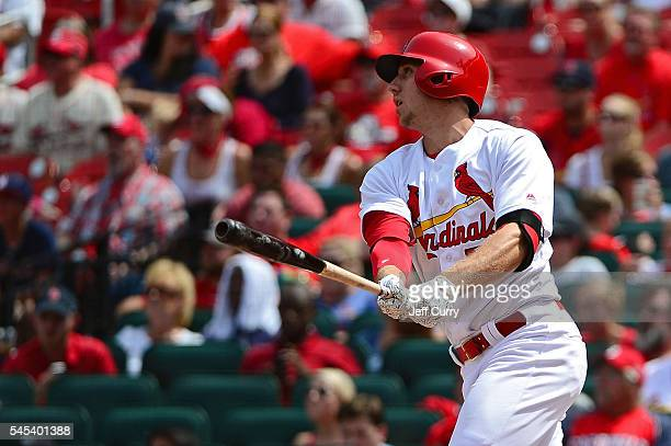 Stephen Piscotty of the St Louis Cardinals hits a three run home run during the sixth inning against the Pittsburgh Pirates at Busch Stadium on July...