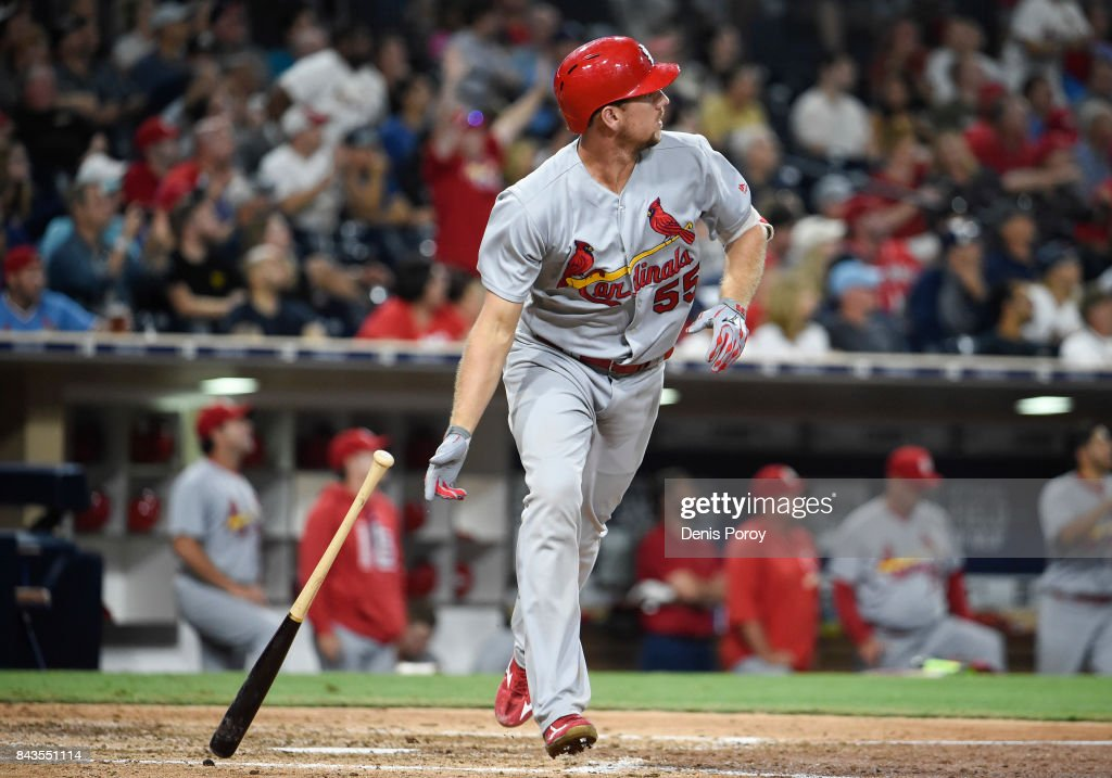 Stephen Piscotty #55 of the St. Louis Cardinals hits a two-run home run during the seventh inning of a baseball game against the San Diego Padres at PETCO Park on September 6, 2017 in San Diego, California.