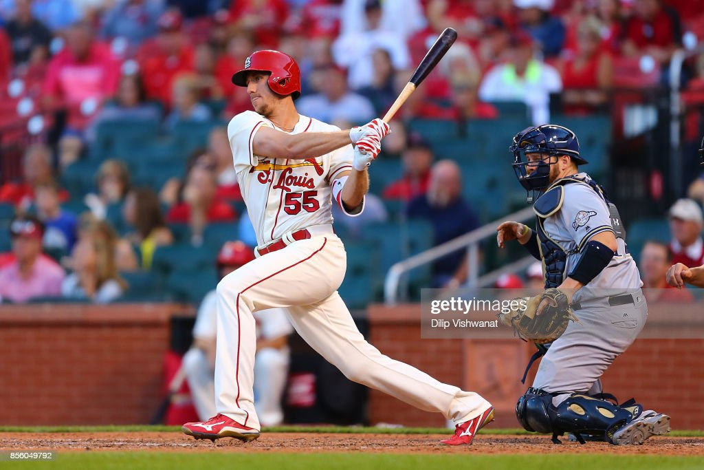 Stephen Piscotty #55 of the St. Louis Cardinals hits a two-run single against the Milwaukee Brewers in the eighth inning at Busch Stadium on September 30, 2017 in St. Louis, Missouri.